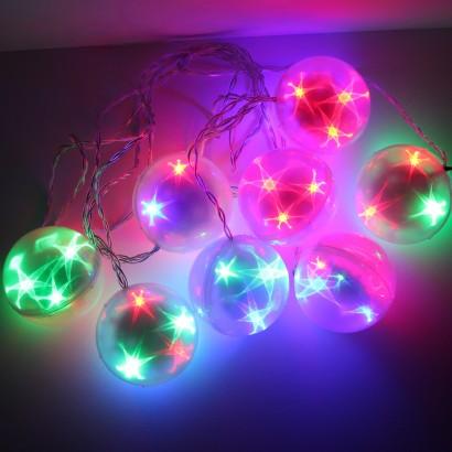 8 piece flashing star ball lights - Ball Christmas Lights