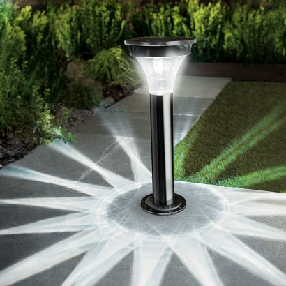 Black Nickel Solar Pir Garden Post Light