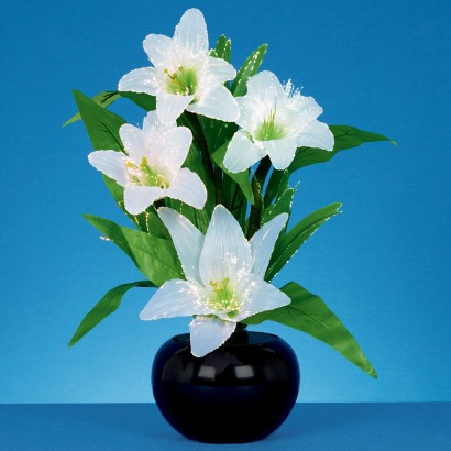 Fibre optic white lillies 50cm table lamp the white lilies in this floral arrangement are illuminated with the twinkle of white fibre optic lights to create a stunning decorative centrepiece mozeypictures