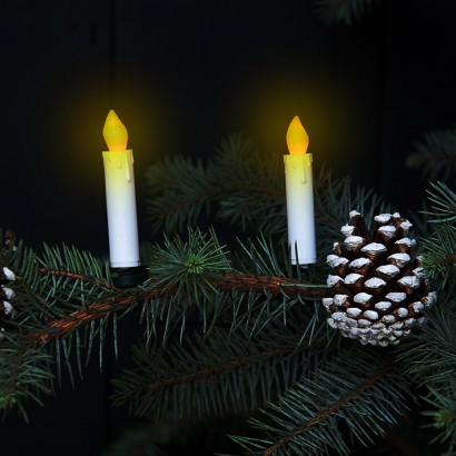 String Of Candle Lights For Christmas Tree : Flickering LED Candle Christmas Tree Lights