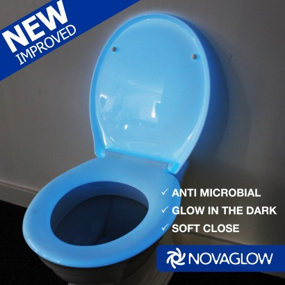 Glow In The Dark Anti Bacterial Toilet Seat - Blue soft close toilet seat