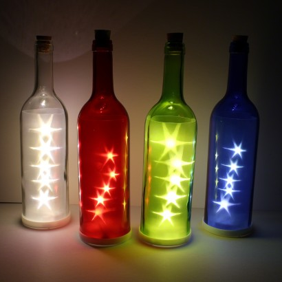 Led glass bottle star lights for Glass bottles with lights in them