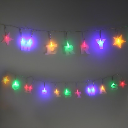 Half String Of Christmas Lights Blinking : Multicoloured LED Merry Christmas String Lights