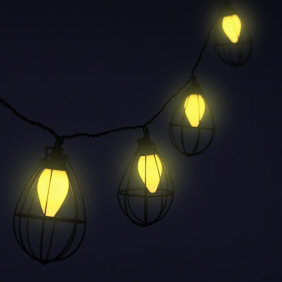 String Lights With Cage : Mini Industrial Bulb Cage String Lights
