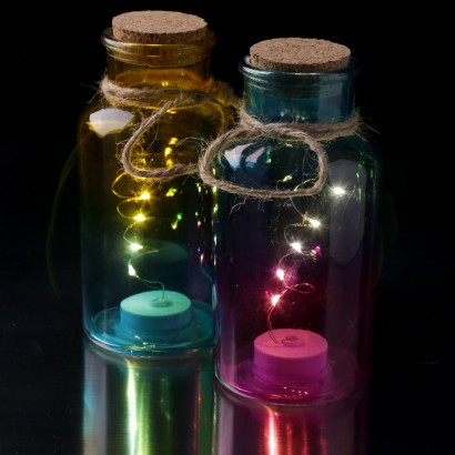 Ombre glass jar lights for Glass bottles with lights in them
