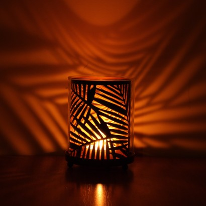Palm leaf metal candle holder light a candle inside the palm leaf candle holder and see decorative palm shaped shadows dancing as the candle flickers read more mozeypictures Image collections