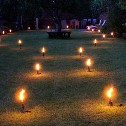 Flaming torches lanterns