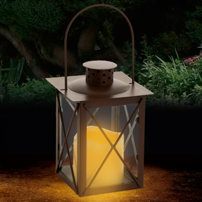 18cm Brown Square LED Lantern