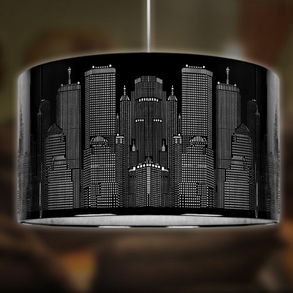 Black Gloss Skyline Laser Cut Lampshade
