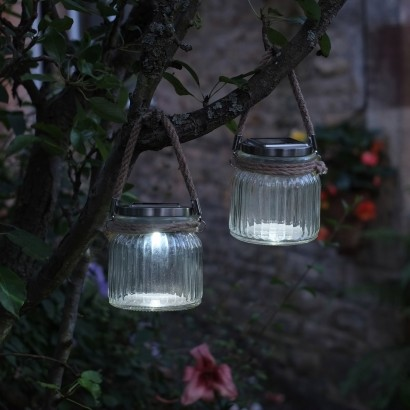 Solar Powered Rustic Glass Garden Lanterns