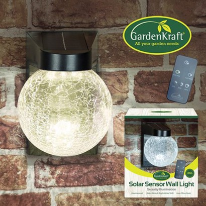 Solar glass ball security wall light solar sensor glass wall light with remote mozeypictures Choice Image