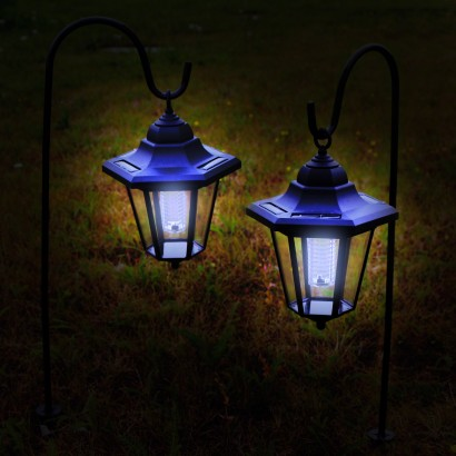 a pair of traditional styled solar lanterns on shepherds hooks to brighten up your patios and borders night after night read more
