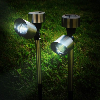Pair of Steel Solar Powered Garden Spotlights