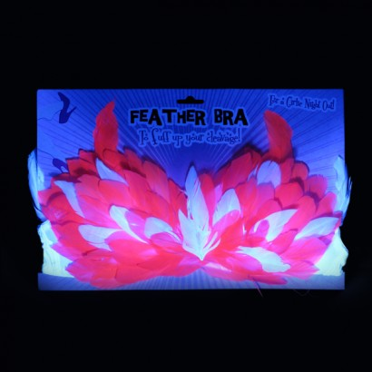 Hot Pink Neon Feather Bra #1: uv feather bra 1