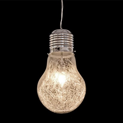 the giant light bulb pendant combines chrome glass and aluminium wire. Black Bedroom Furniture Sets. Home Design Ideas
