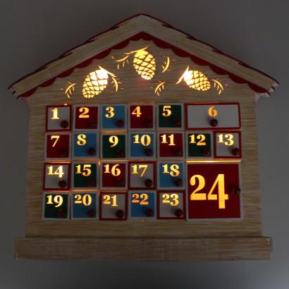 Light Up Wooden Advent Calendar House