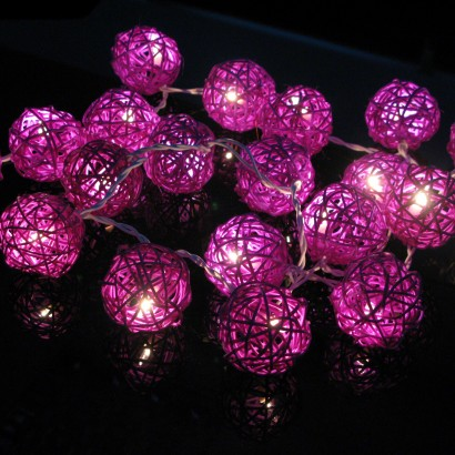 Pretty Indoor String Lights : Purple Rattan Stringlights - Indoor String Lights - String Lights - Home Lighting