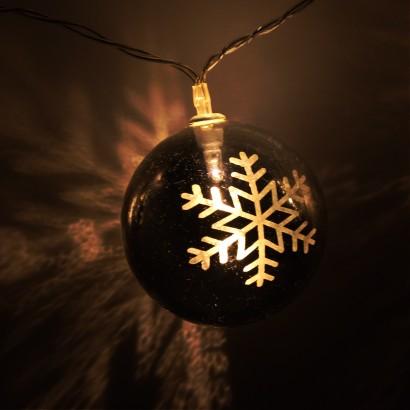 Warm White Led Snowflake Christmas Bauble Lights