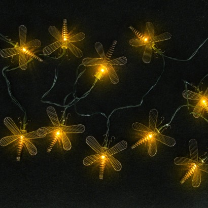 Metal Dragonfly String Lights : Solar Metal Dragonfly Lights