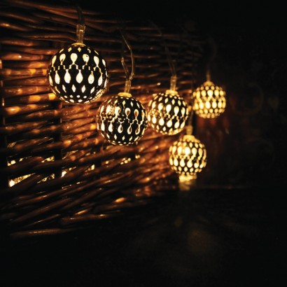 Metal Globe String Lights : Solar Metal Lantern Fairy Lights