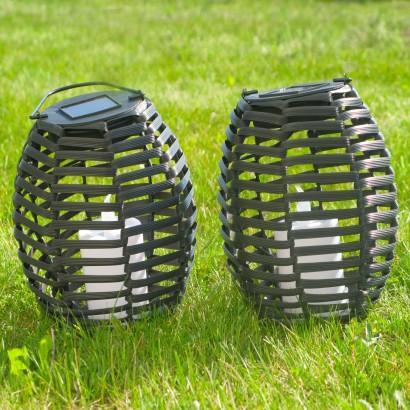 Rattan solar garden lights