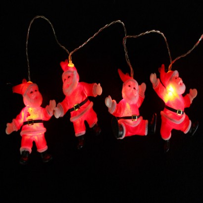 Retro Christmas String Lights : Vintage Styled Santa Fairy Lights