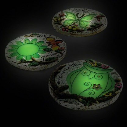 Glow in the dark stepping stones for Solar powered glow stepping stones