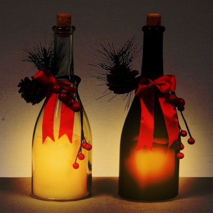 LED Glass Candle Bottle (Single)