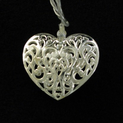 Metal Heart String Lights : 20 LED Filigree Chrome Heart String Lights