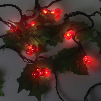 Festive LED Red Berry Holly Garland