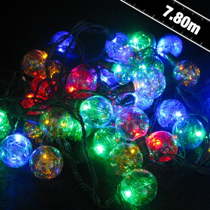 40 Multi LED Balls with Tinsel (132101)