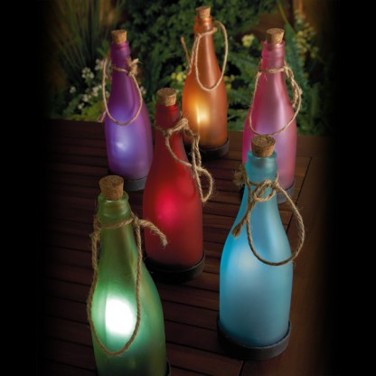 Solar garden bottle lights