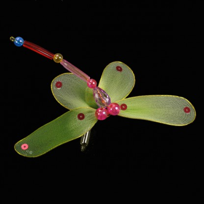 Thai Silk And Bead Dragonfly String Lights