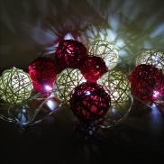 10 Rattan Solar Balls Red & White