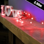 20 Red Heart Wire Fairy Lights