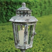 Aged Metal Lantern on Pole