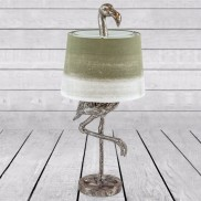 Antique Silver Flamingo Table Lamp with Sage Shade