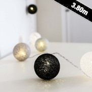 Cotton Ball Fairy Lights Grey
