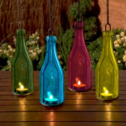 Glass Bottle Tea Light Holder