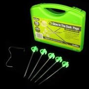 Glow in the Dark Tent Pegs (15 Pack + Extractor)