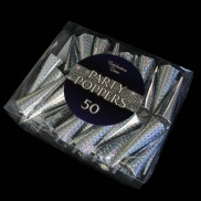 Holographic Silver Party Poppers (50 Pack)