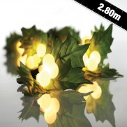 2.8m LED Holly & Pearl Berry Garland