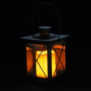 21cm Metal Lantern with Flickering Candle