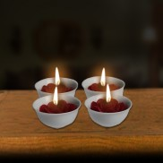 Mini Flower Candles in Bowl (4 Pack)