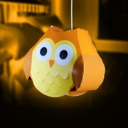 Orange Owl Lampshade
