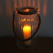 Rope Handle Glass Candle Holder 26cm