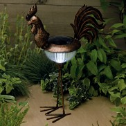 Solar Garden Metal Cockerel