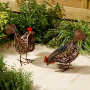 Solar Metal Scroll Hens (2 Pack)