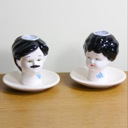 Tattoo Doll Head Candle Holders
