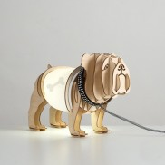 Wooden Bulldog Table Lamp (19895)